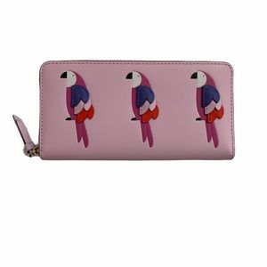 Kate spade wallet large pink continental parrots